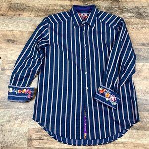 Robert Graham Floral & Striped Button Down Size L
